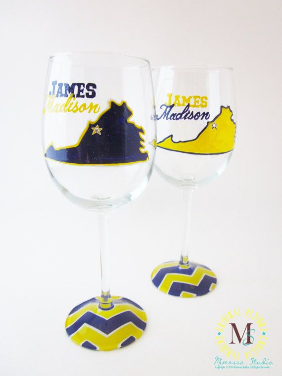 Hand Painted James Madison University Wine Glass by MimossaStudio