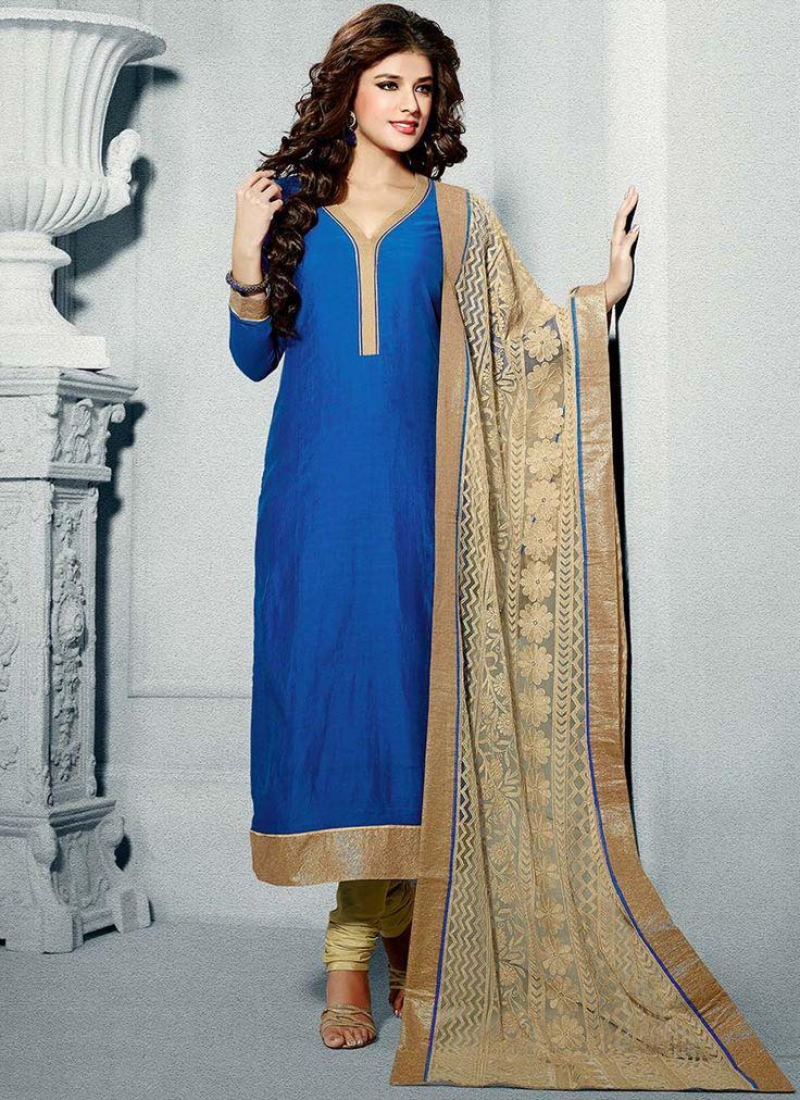 Nice Blue Chanderi Silk Churidar