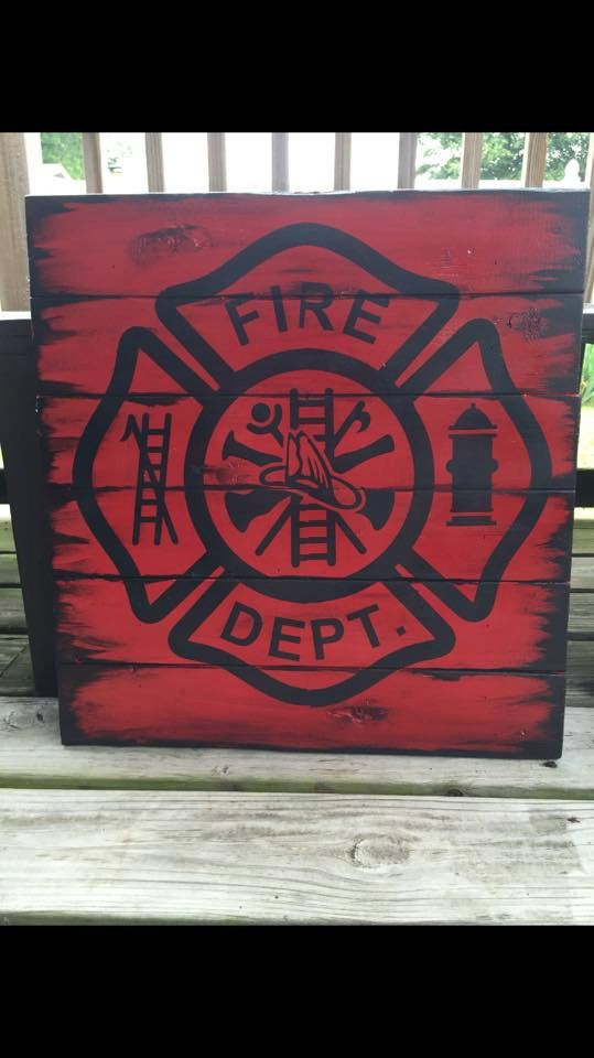 Maltese Cross Wooden Sign Firefighters red by CustomHomeDecorShop