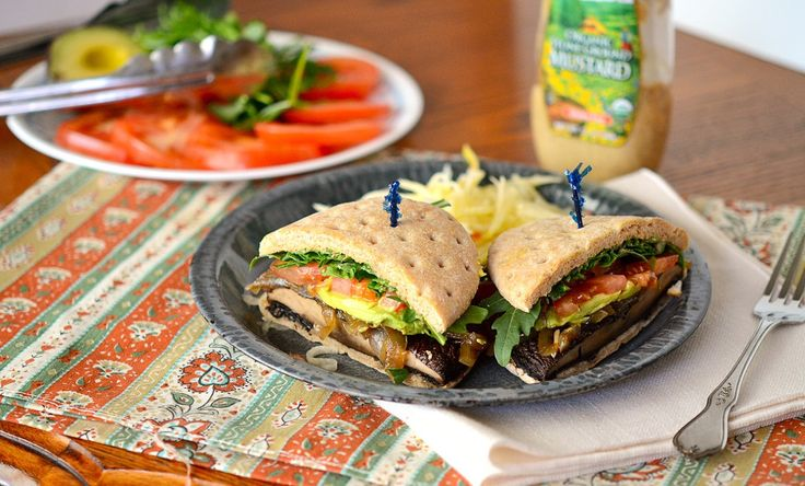 Grilled Portobello Burgers with Caramelized Onions