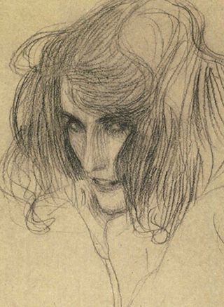 Gustav Klimt | Detail of a study of 'Lasciviousness' from The Beethoven Frieze