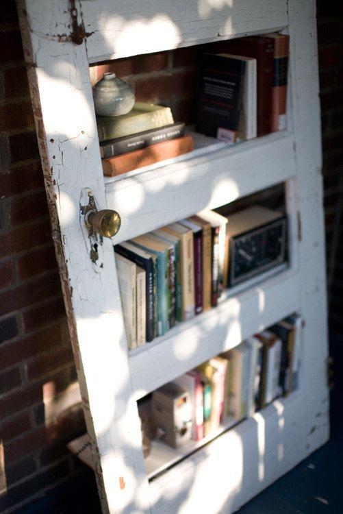 Vintage Door Repurposed Bookshelf.