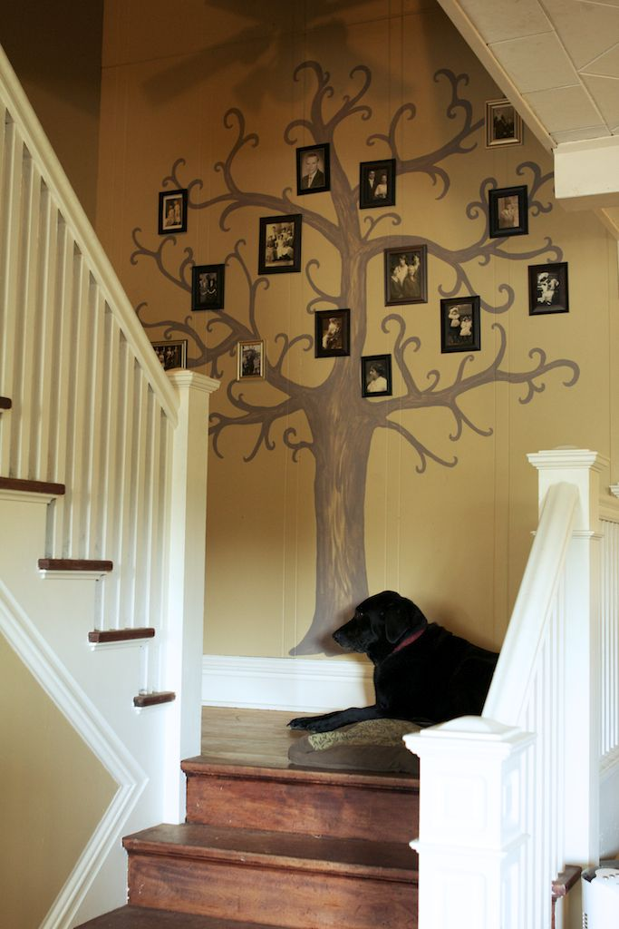 paint a tree on the wall and add old family photos to create my version of a fun family tree.