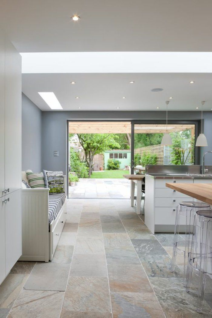 50 Degrees North Architects Ground Floor Rear Extension In South West London Open Plan Kitchen Diner With Large Wall Mural Love The Bench