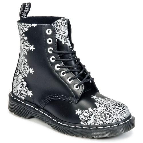 Boots+Dr+Martens+1460+LACE+Noir+/+Blanc+178.95+€