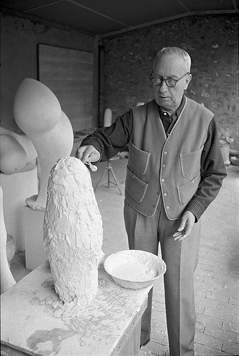 Hans Arp in his studio in Meudon