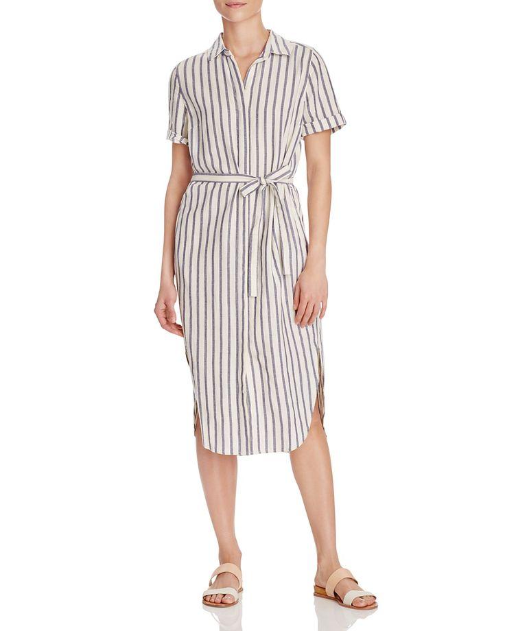 Birds of Paradis Stripe Midi Shirt Dress