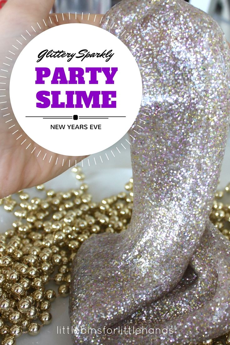 Sparkling Party Slime New Years Eve Activity for kIds. Celebrate New Year's Eve with kid friendly party activities. Easy party slime recipe for science and sensory play! Holiday STEM activity for families.