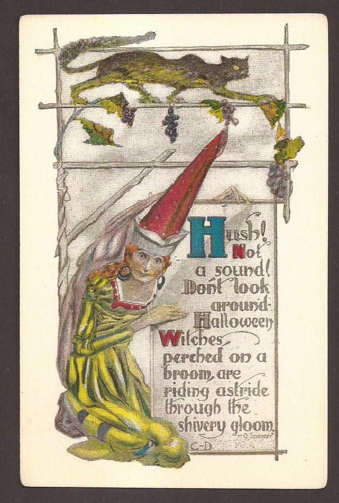 Halloween Witch Cat Postcard, Carte Postale, Postkarte, #Halloween