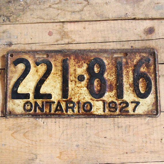 Ontario license plate  1927 Vintage metallic plate by Auboutdurang