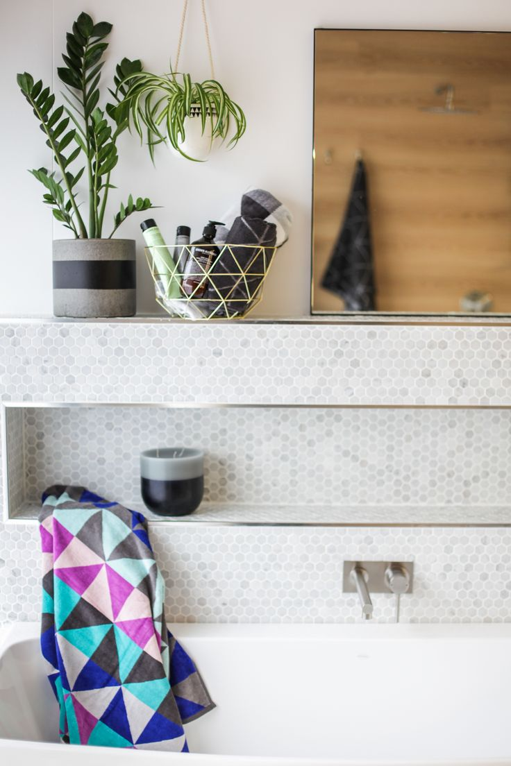 Boho bathroom styling! #Caroma Urbane bath, Caroma titan stainless steel bath mixer.