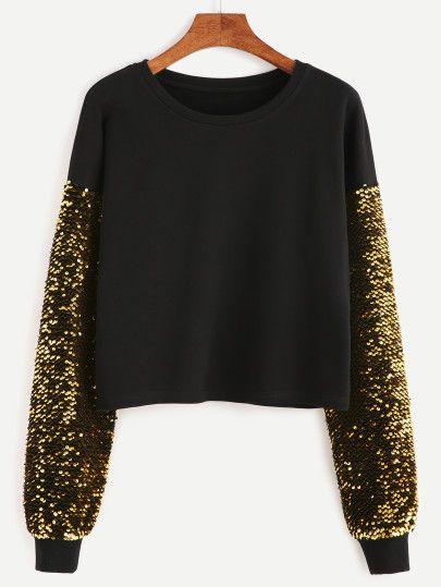 Black Drop Shoulder Embroidered Sequin Sleeve Sweatshirt
