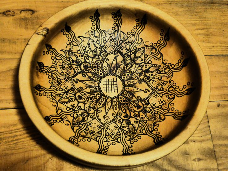 'The Goddess Bowl' with Ogham symbol for Beech at the center of a mandala. Upcycled via pyrography beechwood bowl.