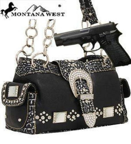 *Hot & Trendy* Black Western Rhinestone Buckle Conceal and Carry Purse