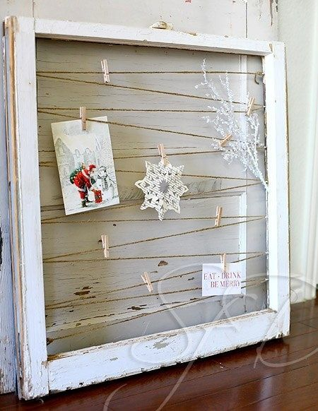 old window frame photo/card hanger by connie.ratcliff.7