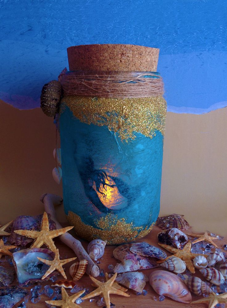 Mermaid Jar with glitter