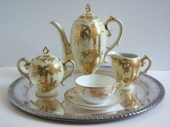 Hand Painted Tea Set  Coffee Pot  Tea Pot  by RetropolitanHolmes