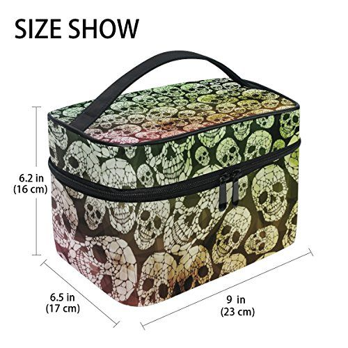 "#GIOVANIOR #Abstract #Gothic #Skull #Print #Large #Cosmetic #Bag #Travel #Makeup #Organizer #Case #Holder for #Women #Girls Product dimensions: 9"" x 6.2"" x 6.2"" Durable Material: Twill weave + Microfiber + net pocket + elastic band Multiple Compartments: A #large capacity of the main #bag, a zipper net pocket , three pockets,four elastics https://travel.boutiquecloset.com/product/giovanior-abstract-gothic-skull-print-large-cosmetic-bag-travel-makeup-organizer-case-holder-for-"