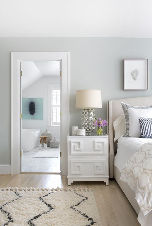 White Greek Key Nightstand Transitional Bedroom