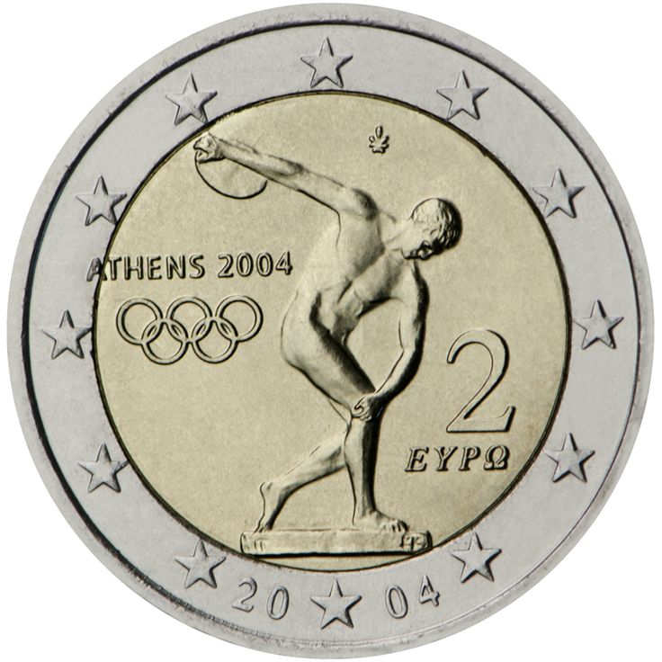 Greece 2004: Olympic Games in Athens 2004. The twelve stars of the European Union positioned around the outer circle surround the design of an ancient statue depicting a discobolus in his attempt to throw the discus. The base of the statue covers a small part of the coin's external ring. To the left, logo of the Olympic Games 'ATHENS 2004' and the five Olympic circles, and right, one above the other, are the figure '2' and the word 'ΕΥΡΩ'.  Issuing volume: 50 million coins