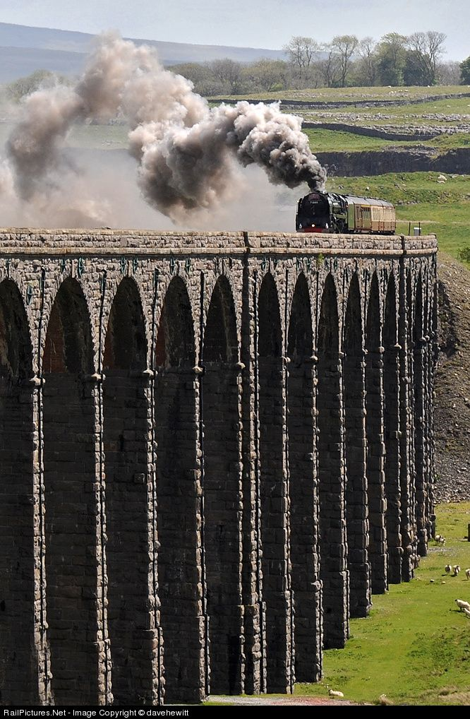 Duke of Gloucester passes over Ribblehead viaduct with a special from York to Carlisle, England