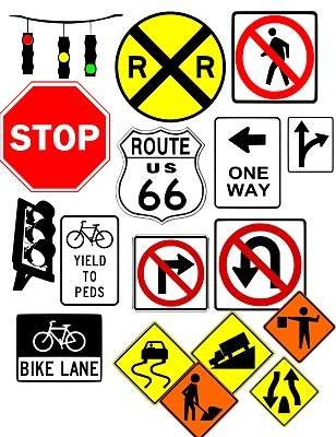 Traffic signs, cartoons, and many more svg files