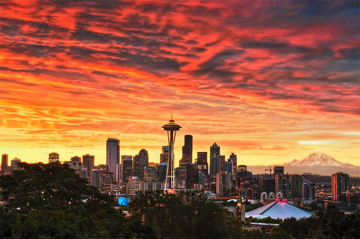 Red sky over seattle