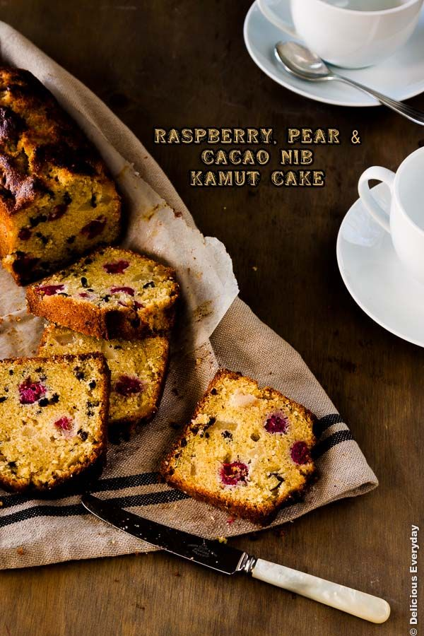 Raspberry Pear and Cacao Nib Kamut Cake | DeliciousEveryday.com