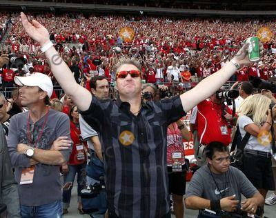 Sept 11, 2010 - Columbus, Ohio, U.S. - GARY LeVOX, center, of Rascal Flatts, sings 'Carmen Ohio' before the Ohio State-Miami college football game Saturday, Sept. 11, 2010, in Columbus, Ohio. (Credit Image:  Terry Gilliam/ZUMApress.com)