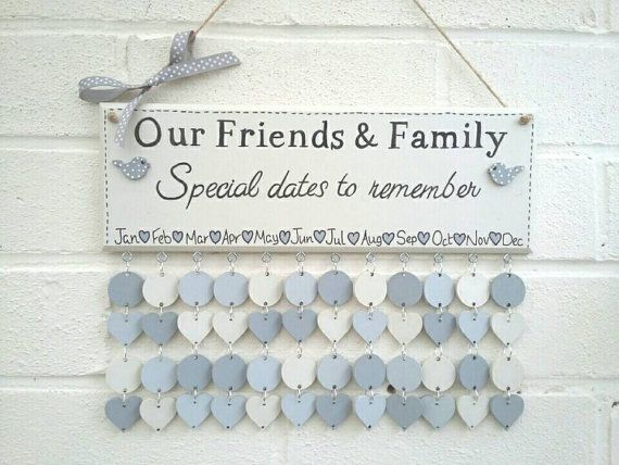 Family Birthdays board plaque sign Calendar handmade hand painted wood