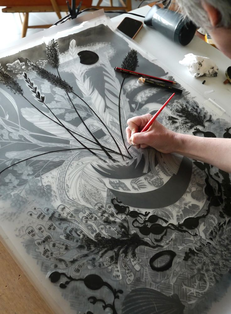 Printmaker Angie Lewin working on the hand-drawn separations for her 'Shoreline' screenprint, commissioned by Towner, Eastbourne in 2014. The print will form part of 'A Printmaker's Journey', the exhibition Angie has curated for Hampshire Cultural Trust at The Gallery, Winchester Discovery Centre. Opens 11th March 2017. Find out more... https://www.aprintmakersjourney.info