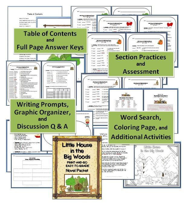 LITTLE HOUSE IN THE BIG WOODS Novel Packet~ Easy to grade! Print and go! This ready-to-use packet contains vocabulary, worksheets, quizzes, and discussion questions, as well as many extras including, a writing graphic organizer, coloring page, and word search. The materials are designed for busy teachers. These versatile printables can be used with independent readers, book groups, as part of a social studies unit, or during whole-class, integrated reading instruction. $