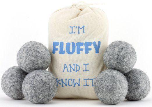 Wool Dryer Balls 6 Pack-XL 100% Organic, Natural, Non-Toxic Handmade Felt Laundry Balls by Feeling Fluffy-Reusable Anti Static Fabric…