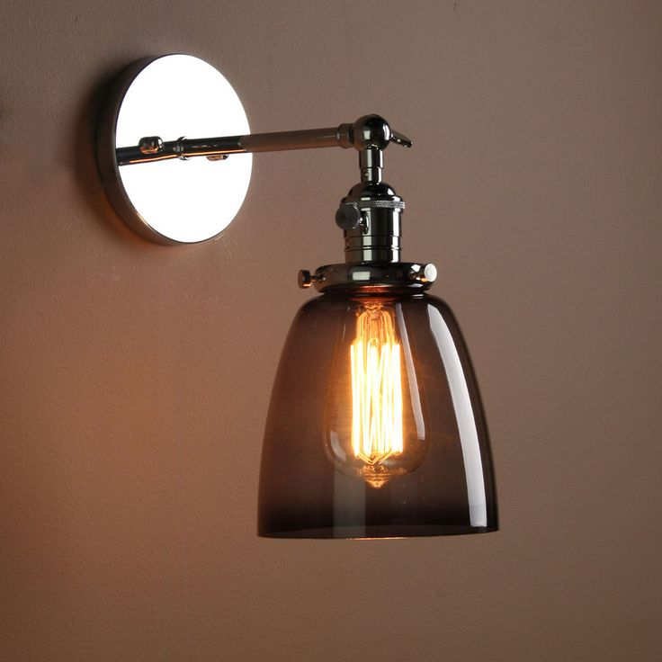 Details about vintage industrial sconce wall lamp black gray glass shade wall light ce mark