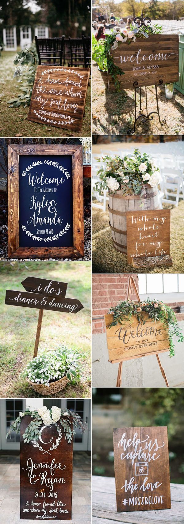 country rustic wooden wedding signs