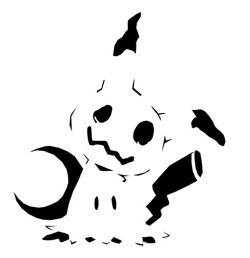 pokemon jack o lantern template - mimikyu pokemon pumpkin carving stencil 489 504