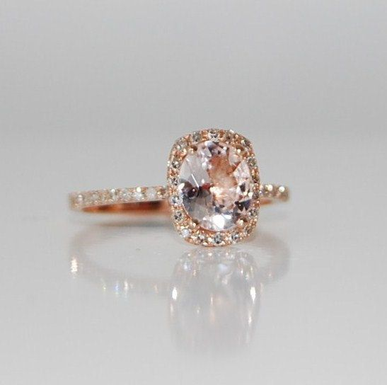 Rose Gold Engagement Ring Sapphire Ring Diamond Ring White Sapphire