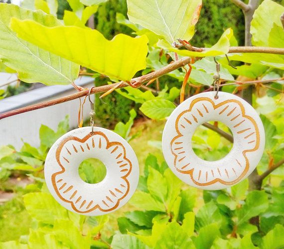 Flower Wood Hoops Beach Hoop Earrings Cookie Earrings