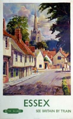 'Essex' Artist: Walden Circa: 1950's Origin: United Kingdom Today's vintage poster is one of a series of posters commissioned in the 1950s by the British Railway used to promote rail travel, and advertise destinations. Essex is a county which was popular with day trippers and older vacationers in the 1950s but is now seen more as a London suburb than a holiday destination.