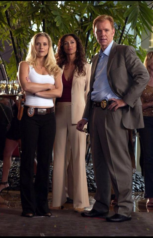 Emily Proctor (left) as Calleigh Duquesne, Sofia Milos (middle) as Yelina Salas, and David Caruso (right) as Horatio Caine  CSI: Miami