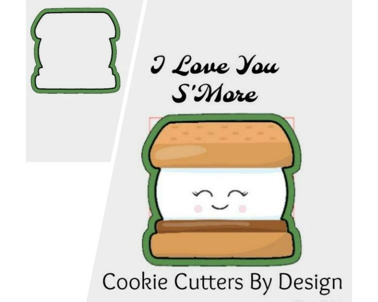 Valentine's Cookie Cutter / S'More Cookie Cutter / I Love You S'More Cookie Cutter / 3D Printed Cookie Cutters / Cookie Cutters by CookieCuttersByDsgn on Etsy