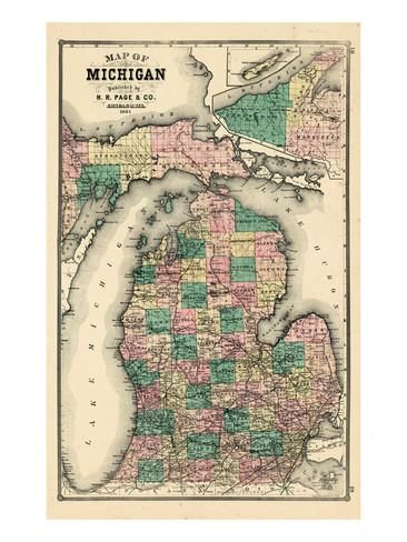 1881, Michigan State Map, Wisconsin, United States Giclee Print at AllPosters.com