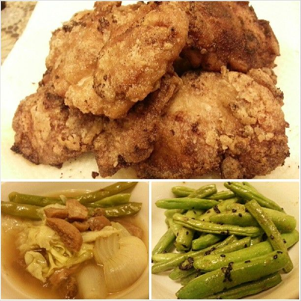 super #yum #karaage #nilagangbaka and #stringbeans w/ #butter and #sesame for #yummy #dinner my #favorite #japanese #friedchicken #filipino #food #philippines #晩ごはん は大好物の#唐揚げ #フィリピン の#ビーフスープ #インゲン の#バター 炒め