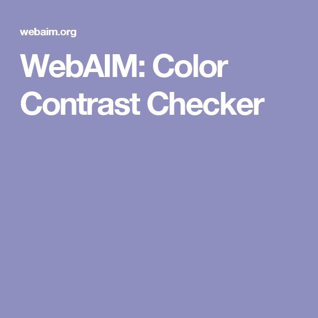 WebAIM: Color Contrast Checker
