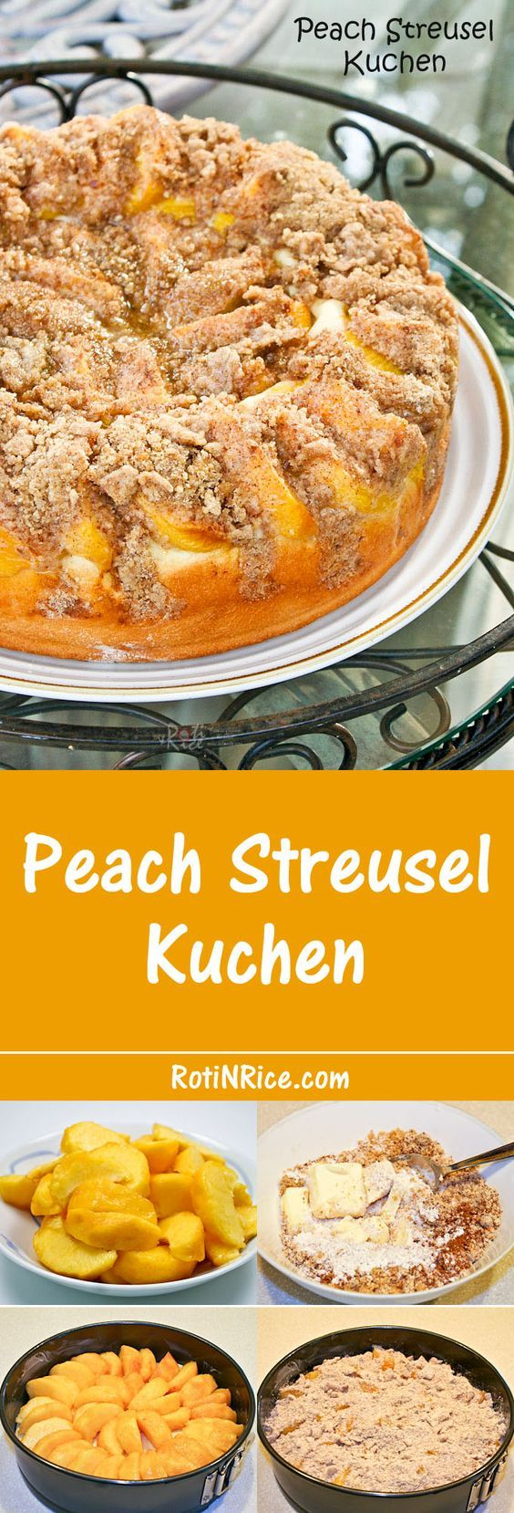 Serve this bread-like Peach Streusel Kuchen warm with butter and a cuppa. A wonderful and satisfying treat for tea time or snack time.   Food to gladden the heart at RotiNRice.com