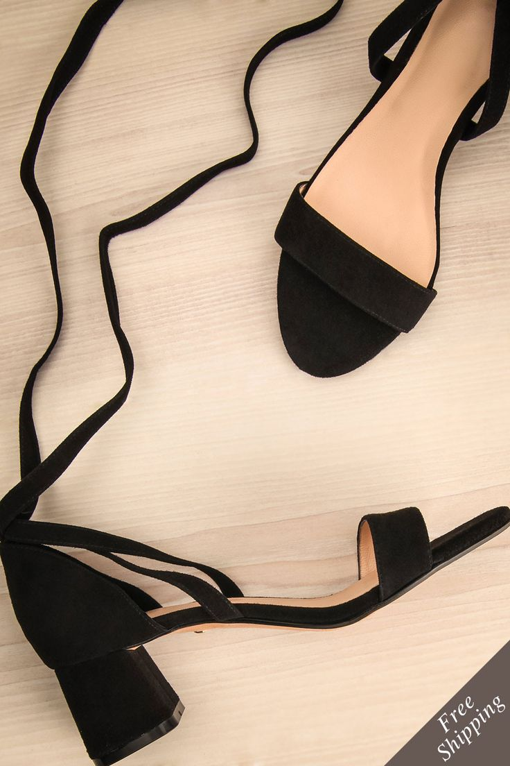 Grosseto #Boutique1861 / These adorable black sandals will become your favourite pair to go from work to a cocktail hour. The low block heels offer comfort, while the ribbon that laces around your ankle ensures stability. Paired with crop pants or a flared skirt, these sandals will be perfectly accentuated.