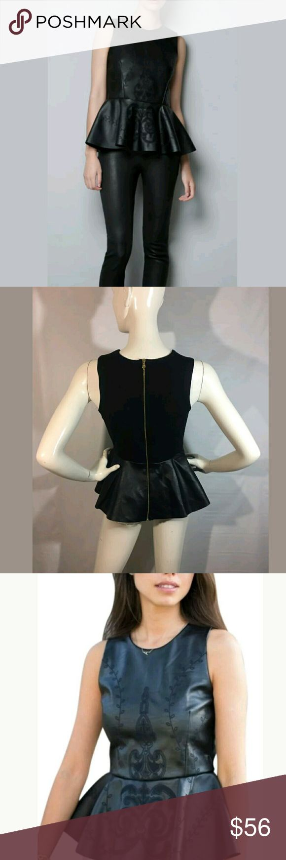 Zara Peplum Top Faux Leather Embroidered Zara Peplum Top Size Medium Faux Leather Embroidered Black-- New top.   16 inches pit to pit.  23.5 inches long.   LB Zara Tops Blouses