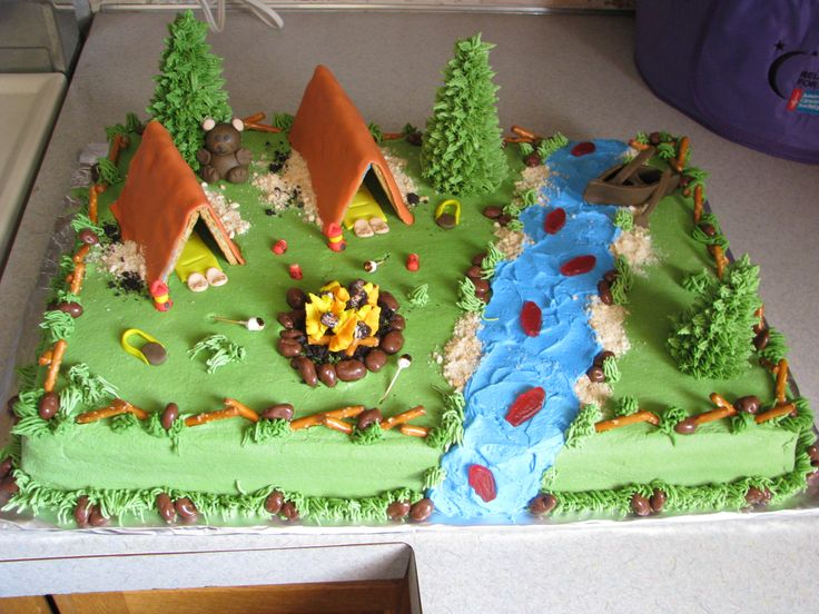 camping - sheet cake made w/ fondant accent, candy and cookies. made this for the cub scout cake auction. tfl