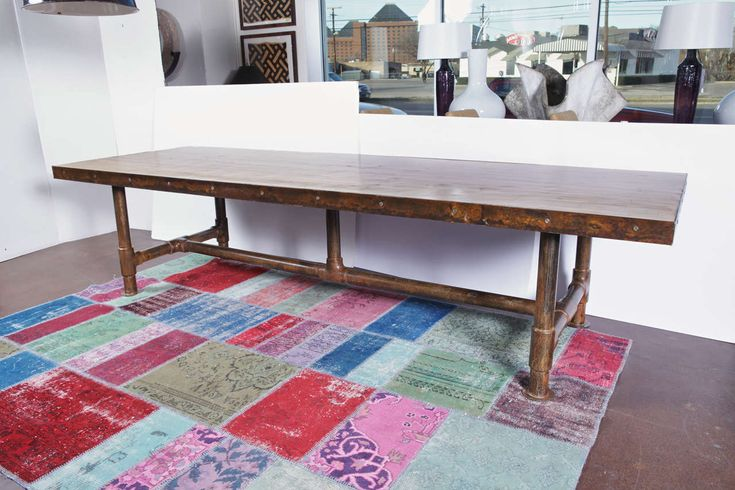 Vintage Bowling Alley Top Dining Table on Scaffolding Pipe Base 2