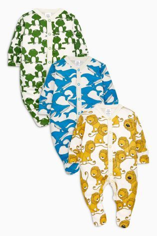 Buy Yellow/Blue Bright Animal Sleepsuits Three Pack (0mths-2yrs) from Next Italy